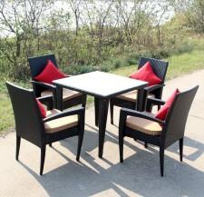 全新藤椅茶几5件套  (70*70*65CM)黑色w1248