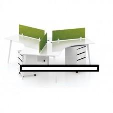 全新新款三人位寫字檯連屏風配活動柜桶##C-AC164