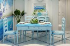 全新餐檯 一枱四椅  (130*82*78CM)  藍色w4345