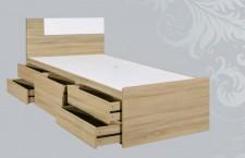廠家直銷 全新 3尺至4尺半 白橡木色床架連五抽屜 #ES-019-910 (包送貨及安裝)
