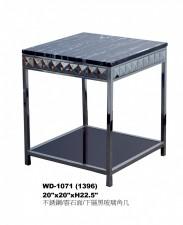 廠家直銷 全新 不锈鋼/雲石面/下層黑玻璃角几 20*21*22.5