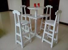 全新戶外一檯4椅  (60*60*110CM)白/咖啡色w1242