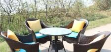 全新藤椅茶几5件套  (70*70*65CM)黃色w1247