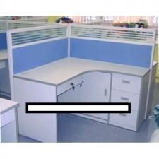 全新 L型寫字檯連三斗櫃桶及趟門櫃(連一件層板)+吊中抽屜 ##C-AC034