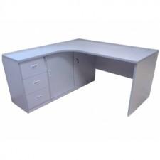 全新 L型寫字檯連三斗櫃桶及趟門櫃(連一件層板) ##C-AC033
