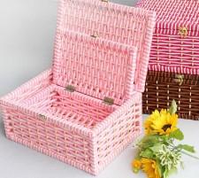 全新收納盒(36*24.5*16.5/30*19*11.5CM)粉紅/棕色 w418