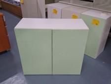 全新陳列品 重細心夾板 有門層櫃 (綠色款), 可用作層櫃或吊櫃 32*14*28