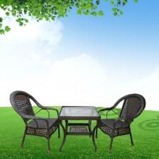 全新一桌二椅(茶几61*61*65/椅62*50*86CM)黑色w363