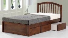 廠家直銷 全新 3尺/3尺半/4尺 馬來西亞進口胡桃木色實木櫃桶床 #HH-163672NW / HH-164272NW / HH-164872NW (包送貨及安裝)